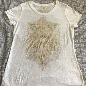 Womens Express off- white sequin stud shirt Large